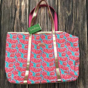 Lilly Pulitzer Sparkle Tote Shorely Blue Flamingo